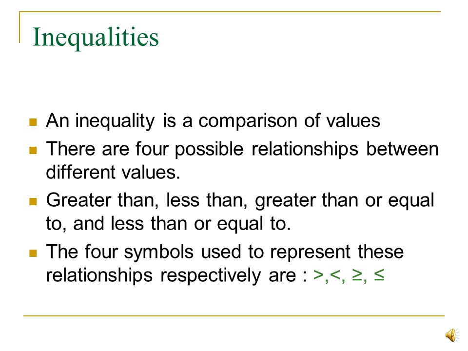 INEQUALITIES Brought To You By- Tutorial Services-The Math Center