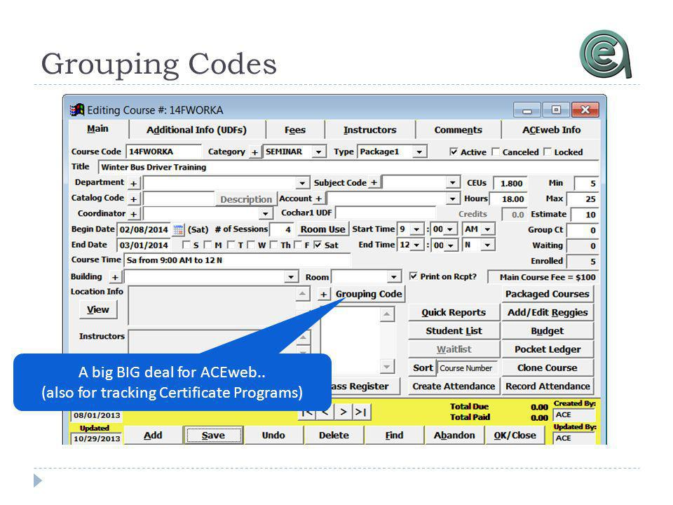 Grouping Codes A big BIG deal for ACEweb.. (also for tracking Certificate Programs)