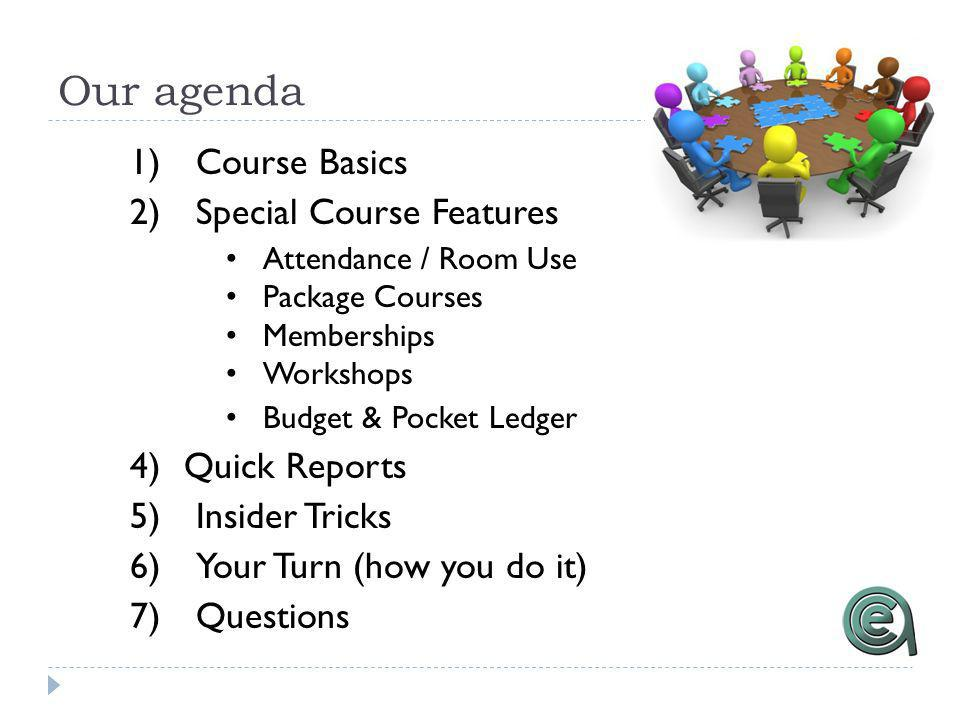 Our agenda 1)Course Basics 2)Special Course Features Attendance / Room Use Package Courses Memberships Workshops Budget & Pocket Ledger 4)Quick Reports 5)Insider Tricks 6)Your Turn (how you do it) 7)Questions