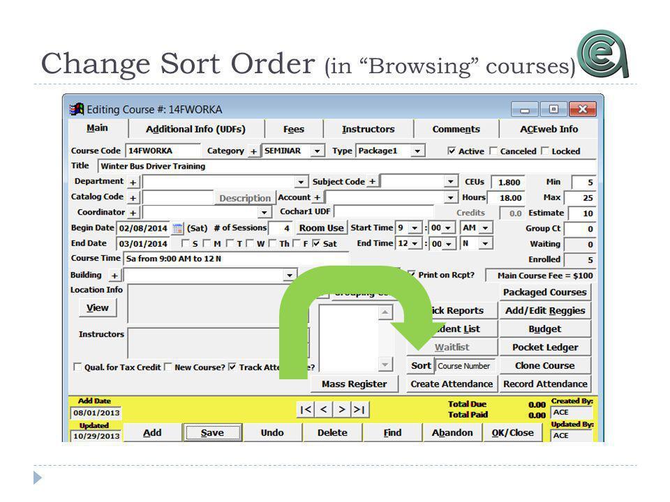 Change Sort Order (in Browsing courses)