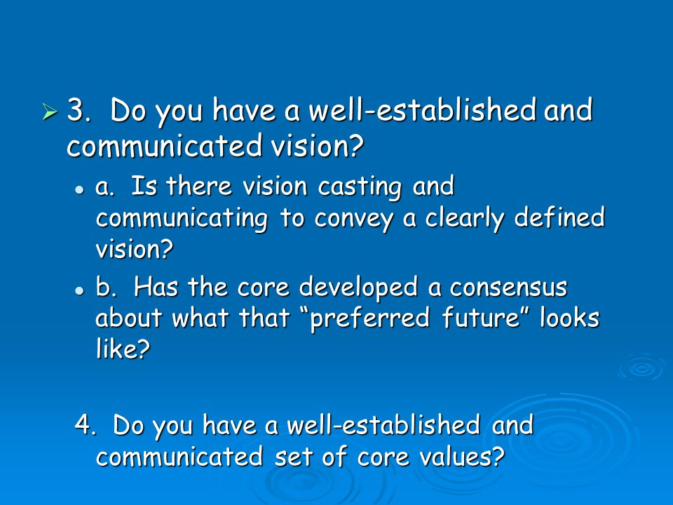 3. Do you have a well-established and communicated vision.