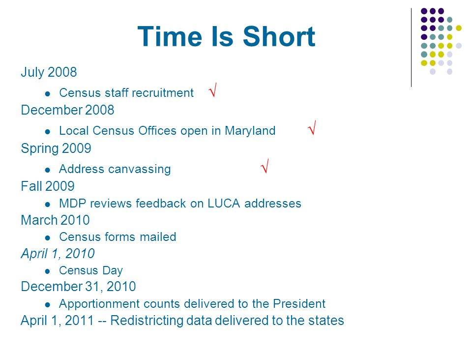 Time Is Short July 2008 Census staff recruitment December 2008 Local Census Offices open in Maryland Spring 2009 Address canvassing Fall 2009 MDP reviews feedback on LUCA addresses March 2010 Census forms mailed April 1, 2010 Census Day December 31, 2010 Apportionment counts delivered to the President April 1, 2011 -- Redistricting data delivered to the states