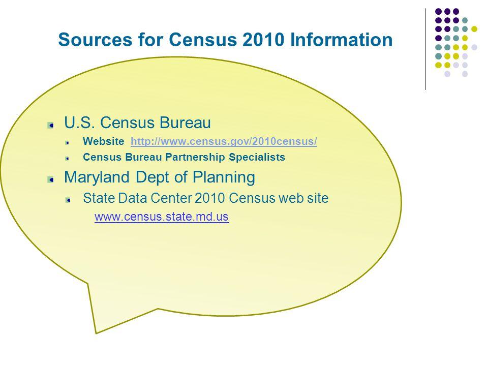 Sources for Census 2010 Information U.S. Census Bureau Website http://www.census.gov/2010census/http://www.census.gov/2010census/ Census Bureau Partne