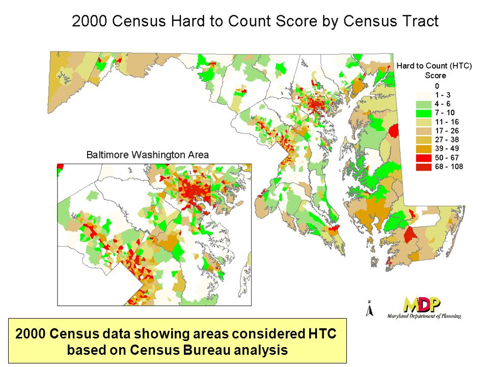 2000 Census data showing areas considered HTC based on Census Bureau analysis