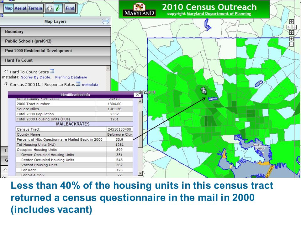 Less than 40% of the housing units in this census tract returned a census questionnaire in the mail in 2000 (includes vacant)