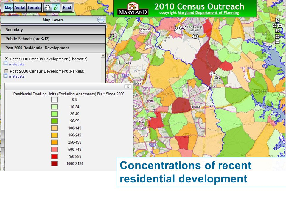 Concentrations of recent residential development