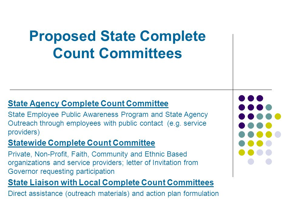 Proposed State Complete Count Committees State Agency Complete Count Committee State Employee Public Awareness Program and State Agency Outreach through employees with public contact (e.g.
