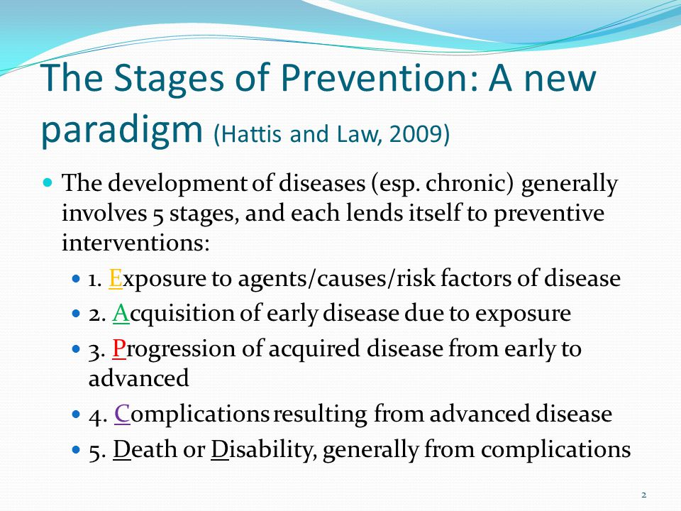 The Stages of Prevention: A new paradigm (Hattis and Law, 2009) The development of diseases (esp.
