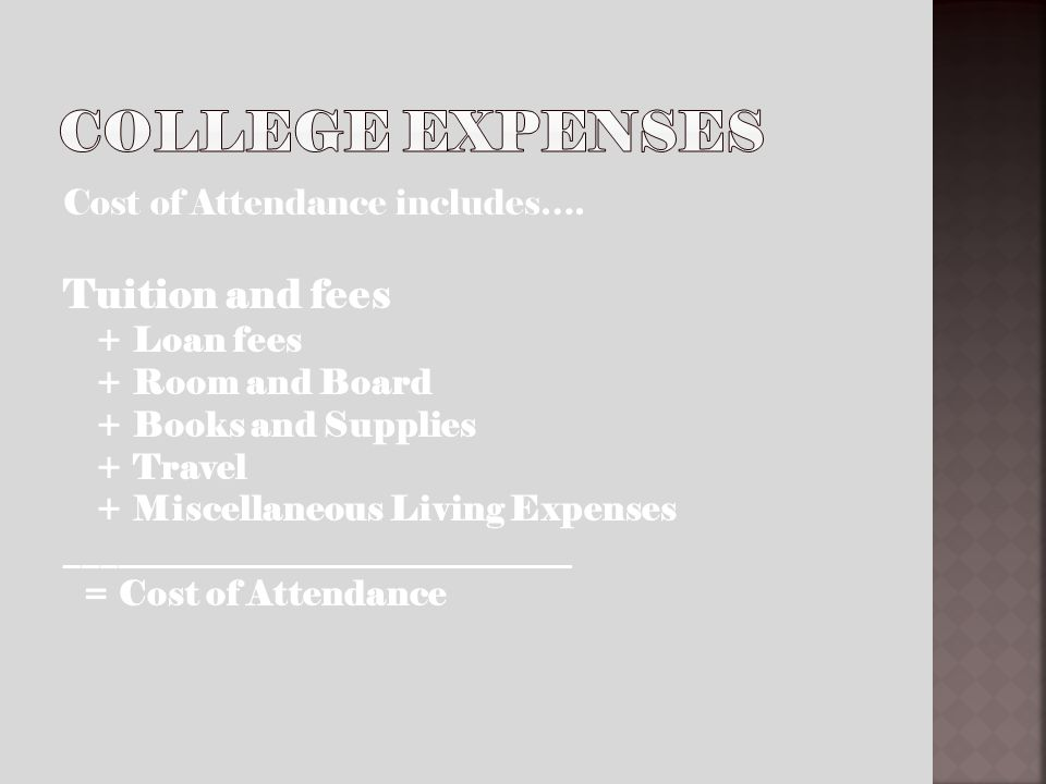 Cost of Attendance includes….