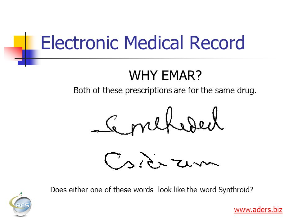 Electronic Medical Record WHY EMAR.Both of these prescriptions are for the same drug.