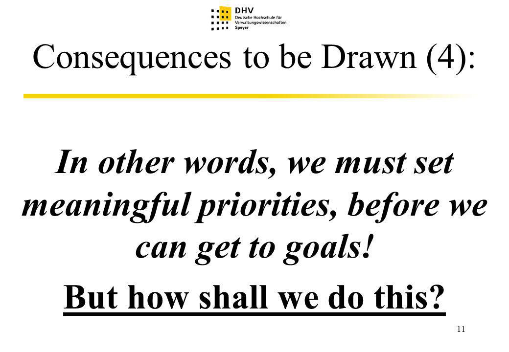 11 Consequences to be Drawn (4): In other words, we must set meaningful priorities, before we can get to goals.