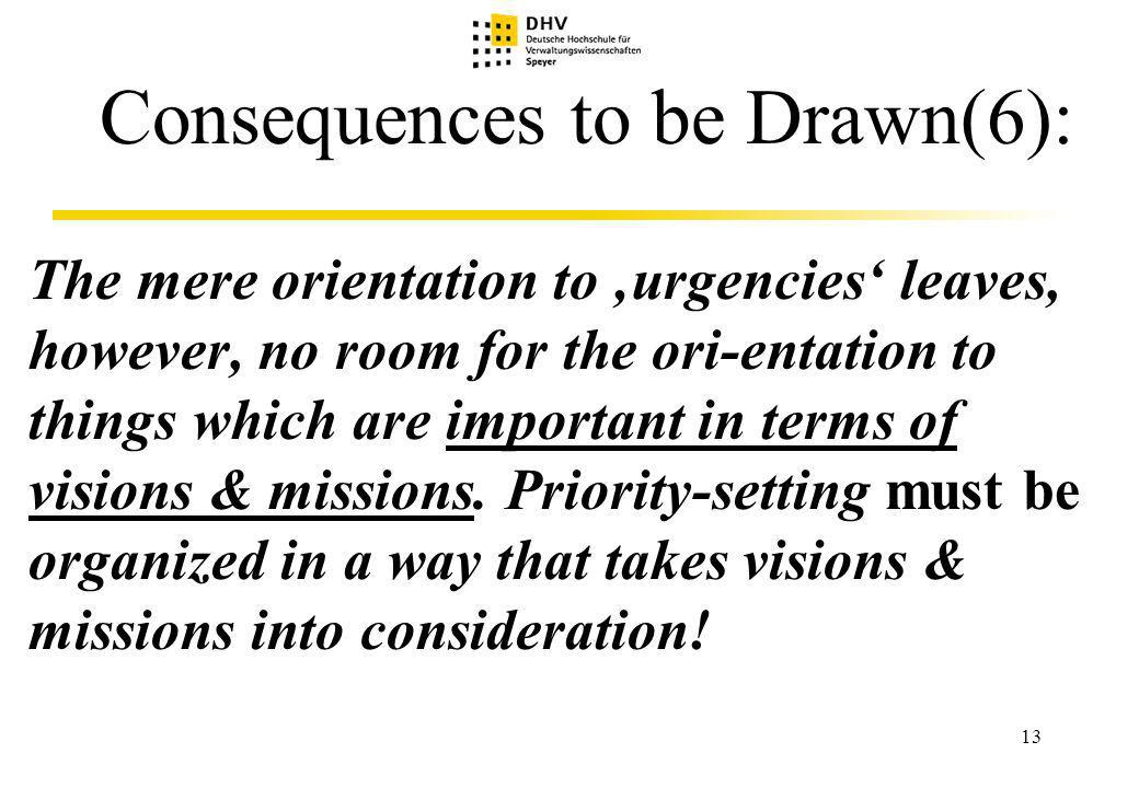 13 Consequences to be Drawn(6): The mere orientation to urgencies leaves, however, no room for the ori-entation to things which are important in terms of visions & missions.
