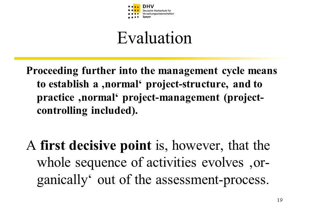 19 Evaluation Proceeding further into the management cycle means to establish a normal project-structure, and to practice normal project-management (project- controlling included).