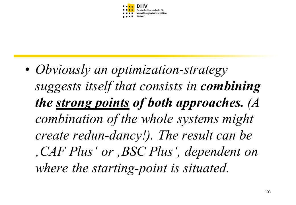 26 Obviously an optimization-strategy suggests itself that consists in combining the strong points of both approaches.