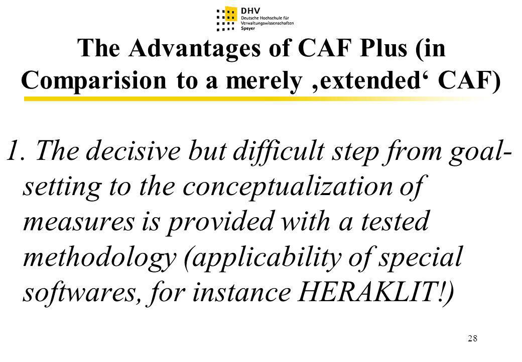 28 The Advantages of CAF Plus (in Comparision to a merely extended CAF) 1.
