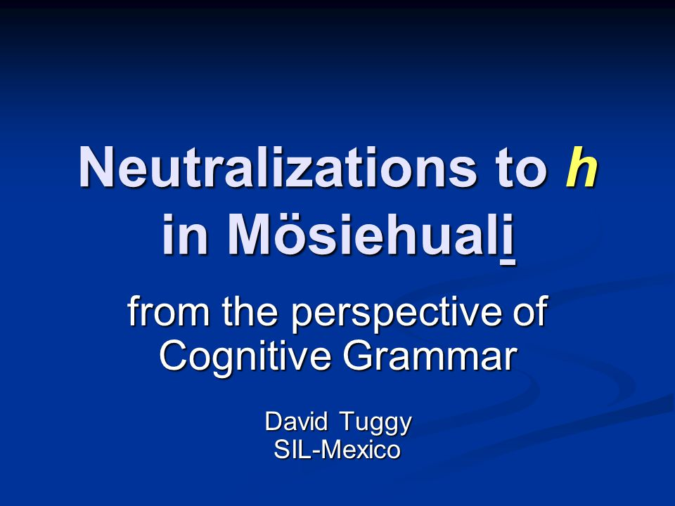 Neutralizations to h in Mösiehuali Mösiehuali, or Tetelcingo Nahuatl, is noteworthy for the number of contrasting phonemes which are neutralized in certain syllable-final positions.