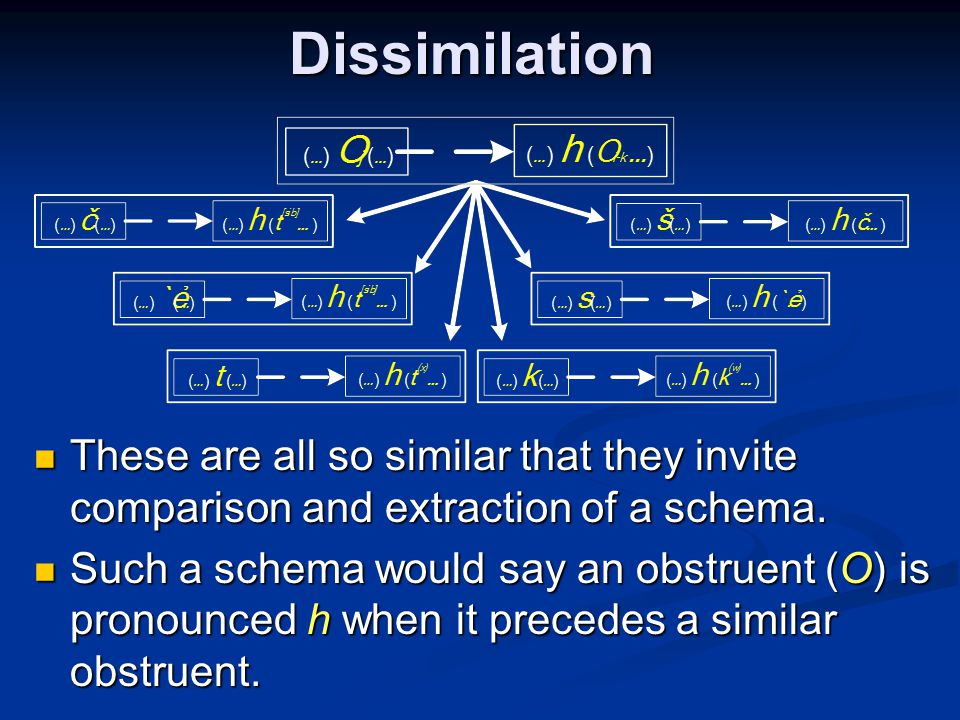 Dissimilation These are all so similar that they invite comparison and extraction of a schema.