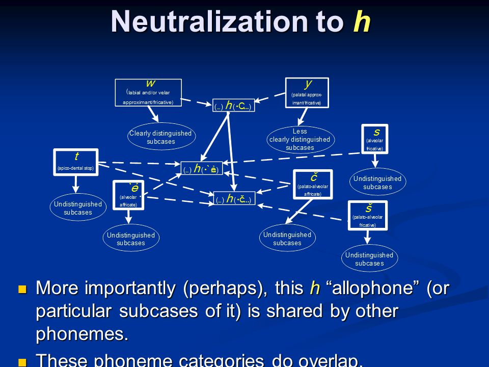 Neutralization to h More importantly (perhaps), this h allophone (or particular subcases of it) is shared by other phonemes.