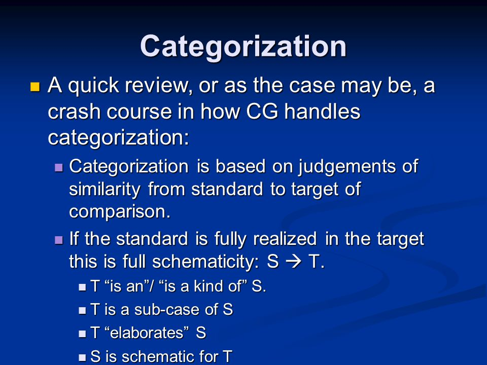 Categorization A quick review, or as the case may be, a crash course in how CG handles categorization: A quick review, or as the case may be, a crash course in how CG handles categorization: Categorization is based on judgements of similarity from standard to target of comparison.
