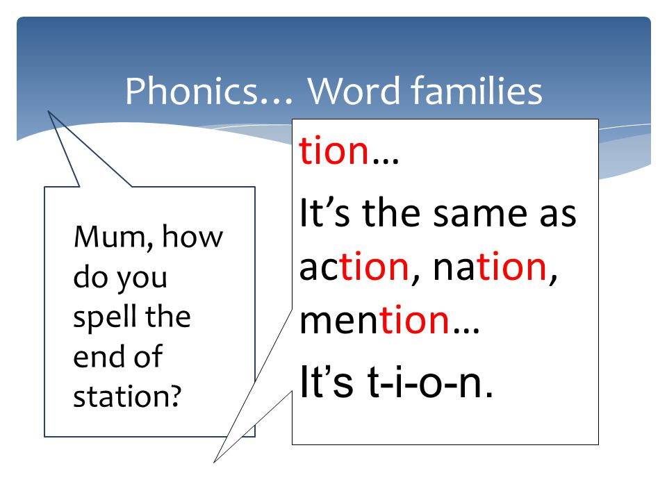 Phonics… Word families Mum, how do you spell the end of station.