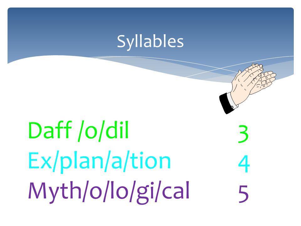 Syllables Daff /o/dil3 Ex/plan/a/tion4 Myth/o/lo/gi/cal5