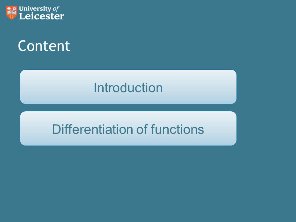 Content Differentiation of functionsIntroduction