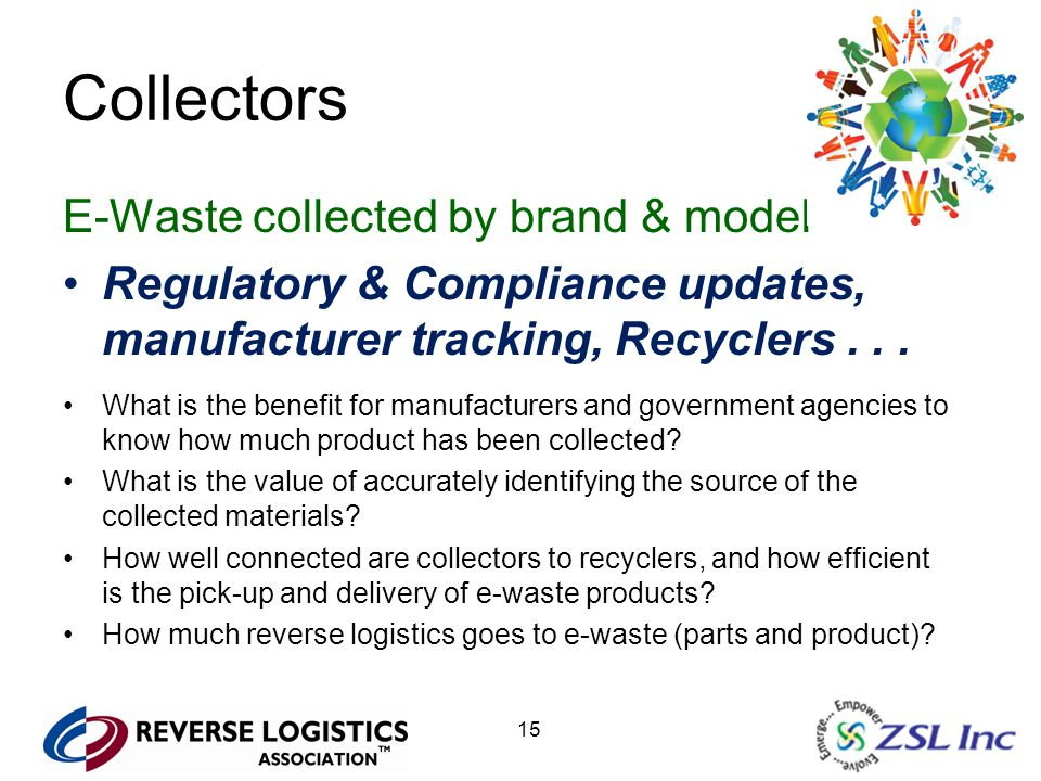15 Collectors E-Waste collected by brand & model Regulatory & Compliance updates, manufacturer tracking, Recyclers...
