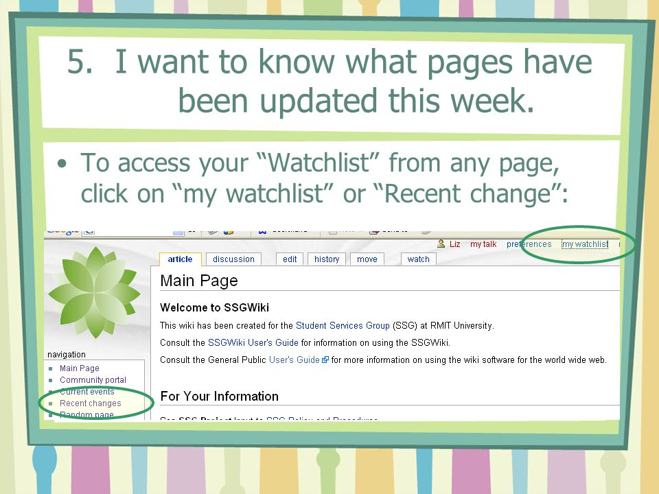 5.I want to know what pages have been updated this week.