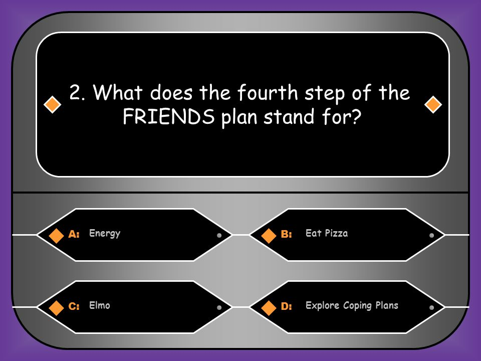 A:B: FunFeelings 1.What does the first step of the FRIENDS plan stand for? C:D: ForgiveFunny