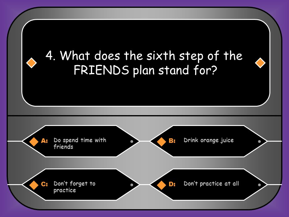 A:B: RelaxResources 3. What does the second step of the FRIENDS plan stand for? C:D: Read a lot of booksRemember to be nice
