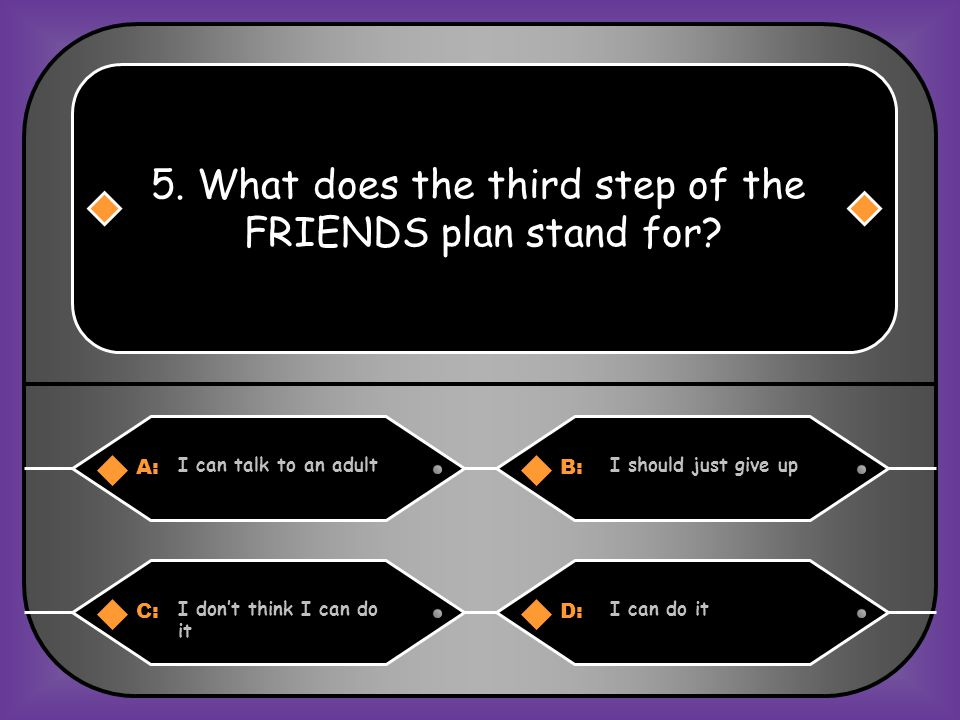 A:B: Do spend time with friends Drink orange juice 4. What does the sixth step of the FRIENDS plan stand for? C:D: Dont forget to practice Dont practi