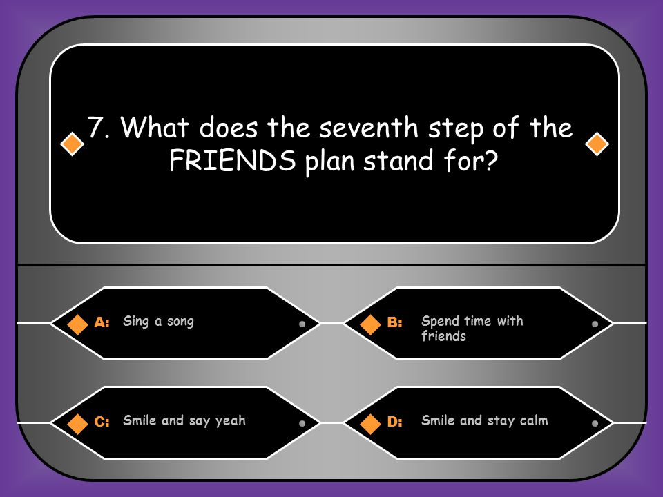 A:B: Never give upNow or never 6. What does the fifth step of the FRIENDS plan stand for? C:D: Now rewardsNow relax