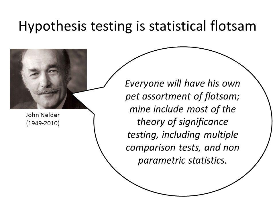 Hypothesis testing is statistical flotsam Everyone will have his own pet assortment of flotsam; mine include most of the theory of significance testing, including multiple comparison tests, and non parametric statistics.