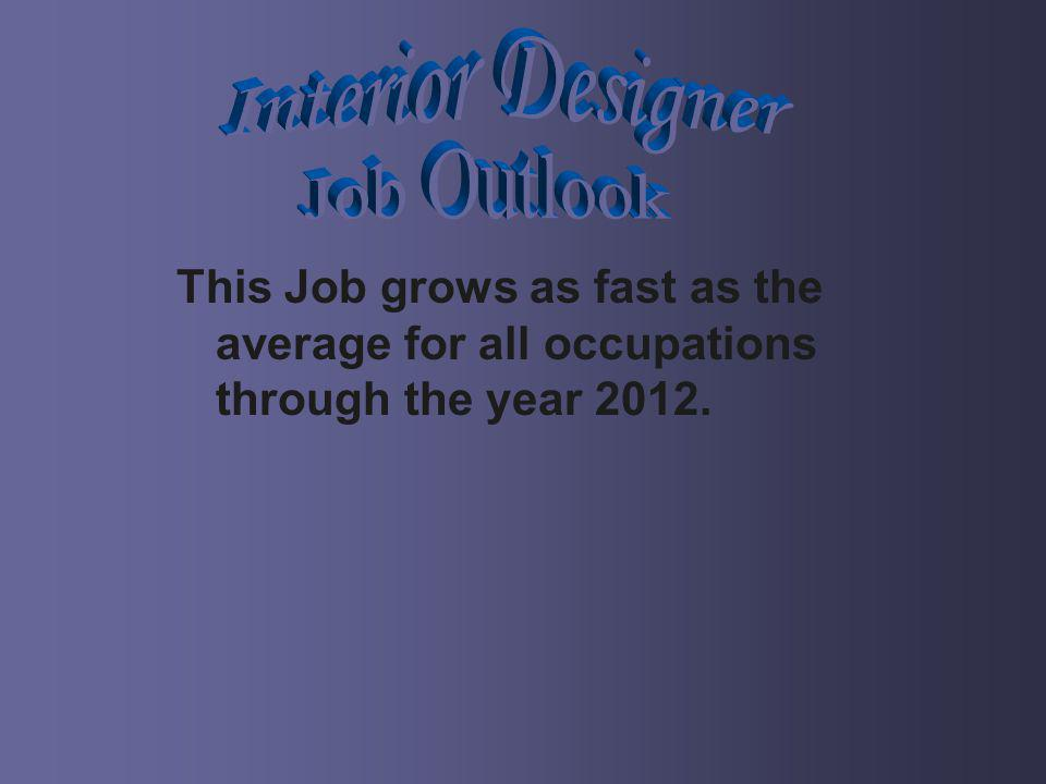This Job grows as fast as the average for all occupations through the year 2012.