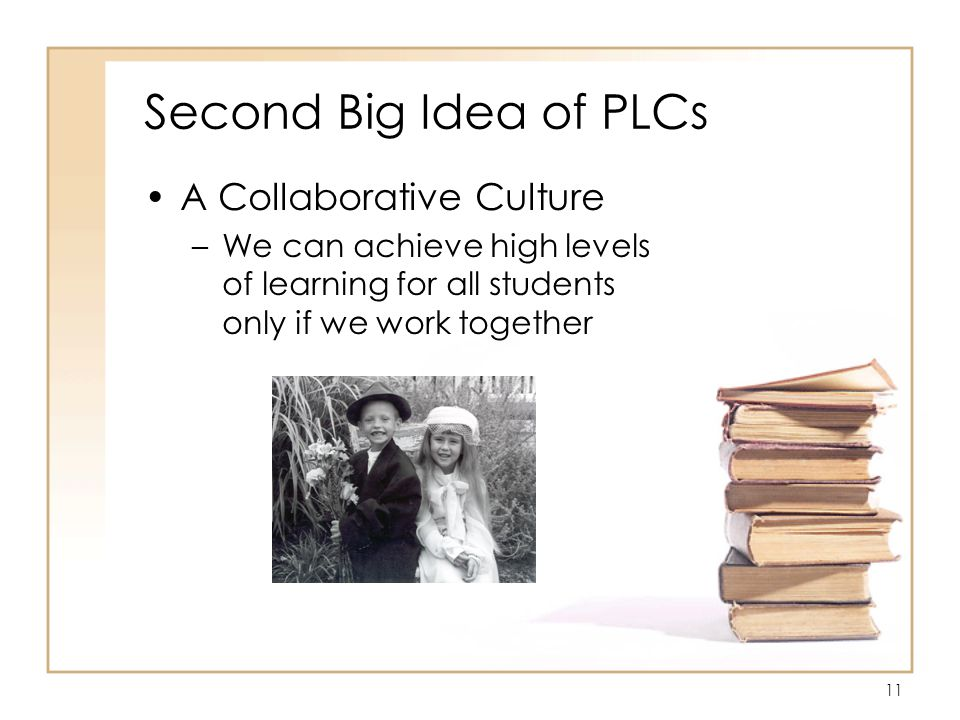 11 Second Big Idea of PLCs A Collaborative Culture –We can achieve high levels of learning for all students only if we work together