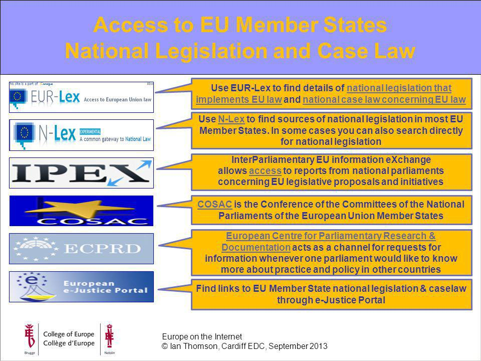 EU information review of the year 2010 Access to EU Member States National Legislation and Case Law Use EUR-Lex to find details of national legislation that implements EU law and national case law concerning EU lawnational legislation that implements EU lawnational case law concerning EU law Use N-Lex to find sources of national legislation in most EU Member States.