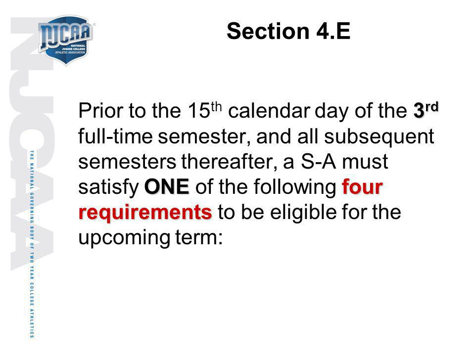 Section 4.E 3 rd ONEfour requirements Prior to the 15 th calendar day of the 3 rd full-time semester, and all subsequent semesters thereafter, a S-A m
