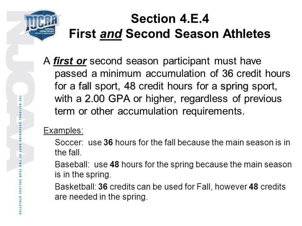 Section 4.E.4 First and Second Season Athletes 36 fall48spring 2.00 GPA A first or second season participant must have passed a minimum accumulation o