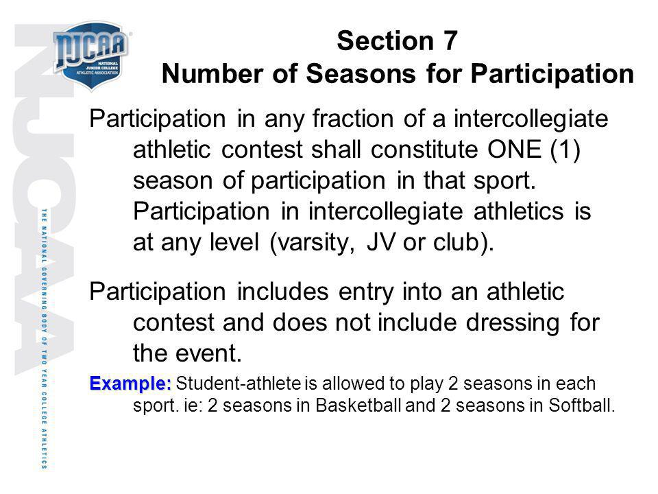 Section 7 Number of Seasons for Participation Participation in any fraction of a intercollegiate athletic contest shall constitute ONE (1) season of p