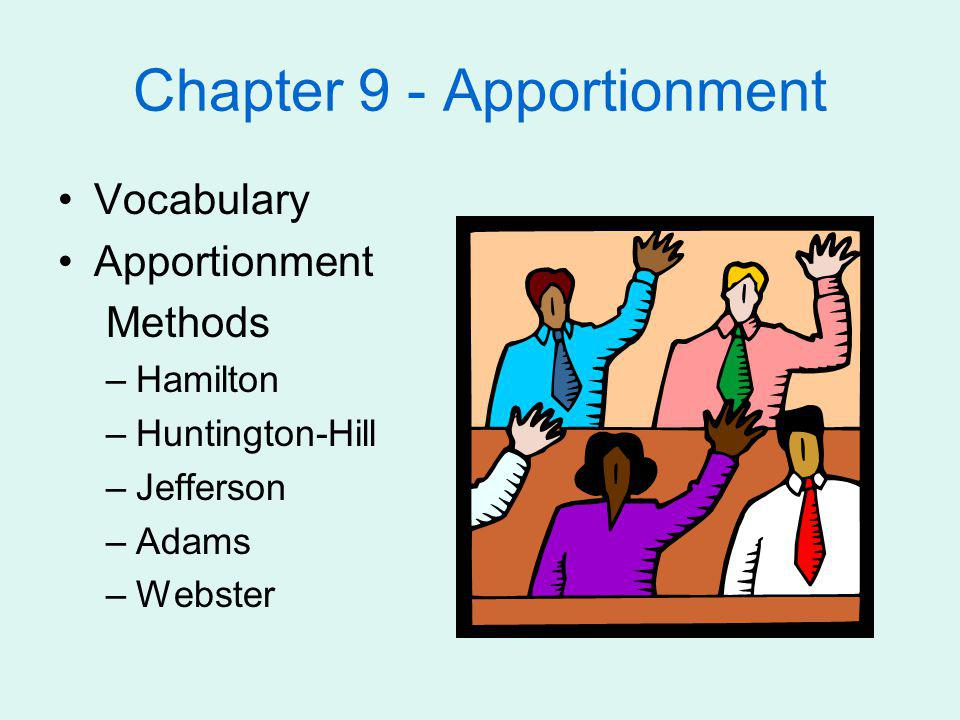 Hamilton Method of Apportionment Gives each state integer part Additional reps allocated by largest fractional part of exact representation
