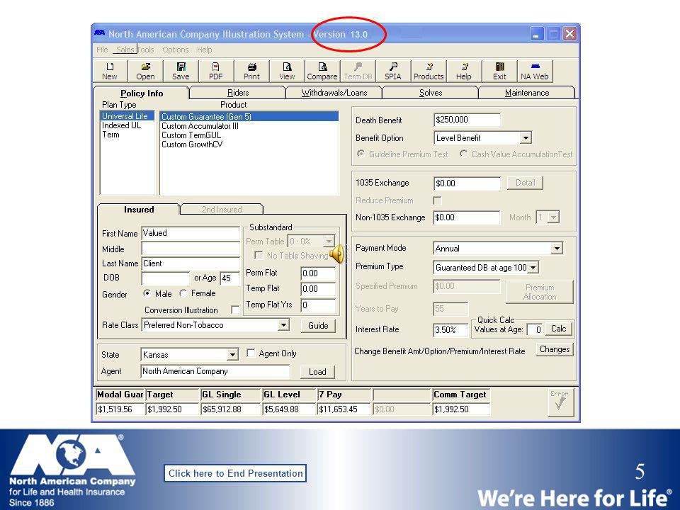 4 Click here to End Presentation Is my software current? Internet download CD release NACIS Updates