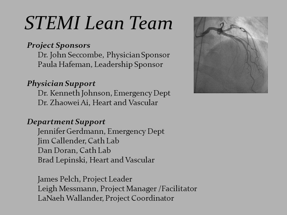 STEMI Lean Team Project Sponsors Dr. John Seccombe, Physician Sponsor Paula Hafeman, Leadership Sponsor Physician Support Dr. Kenneth Johnson, Emergen