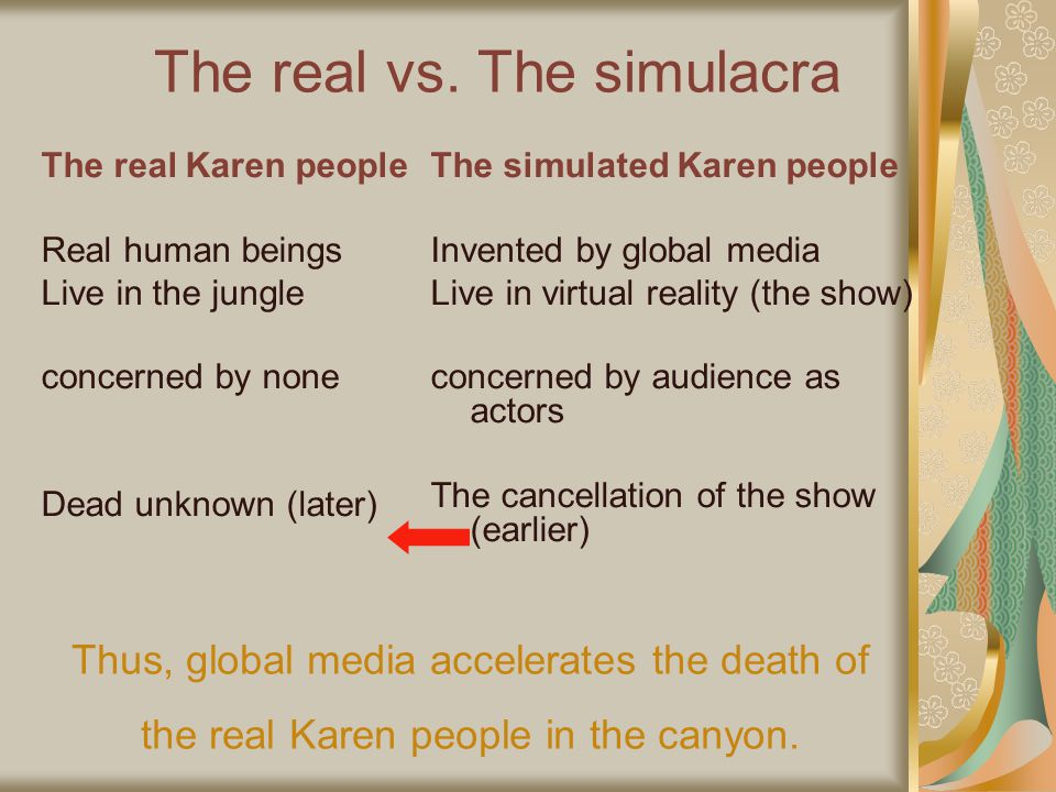 The real vs. The simulacra The real Karen people Real human beings Live in the jungle concerned by none Dead unknown (later) The simulated Karen peopl