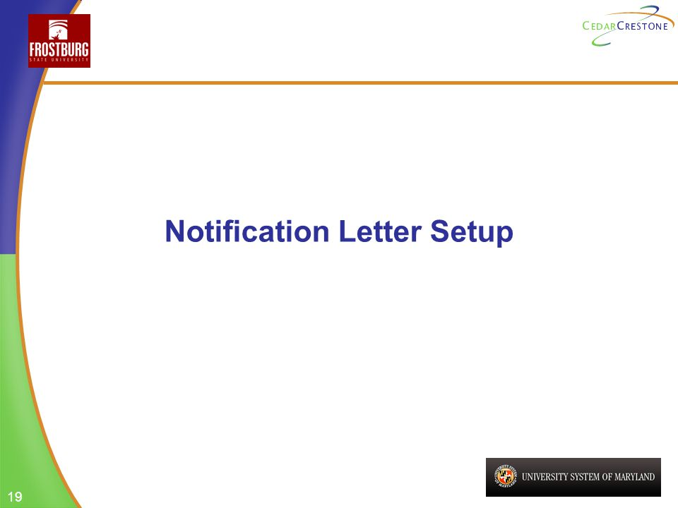 19 Notification Letter Setup