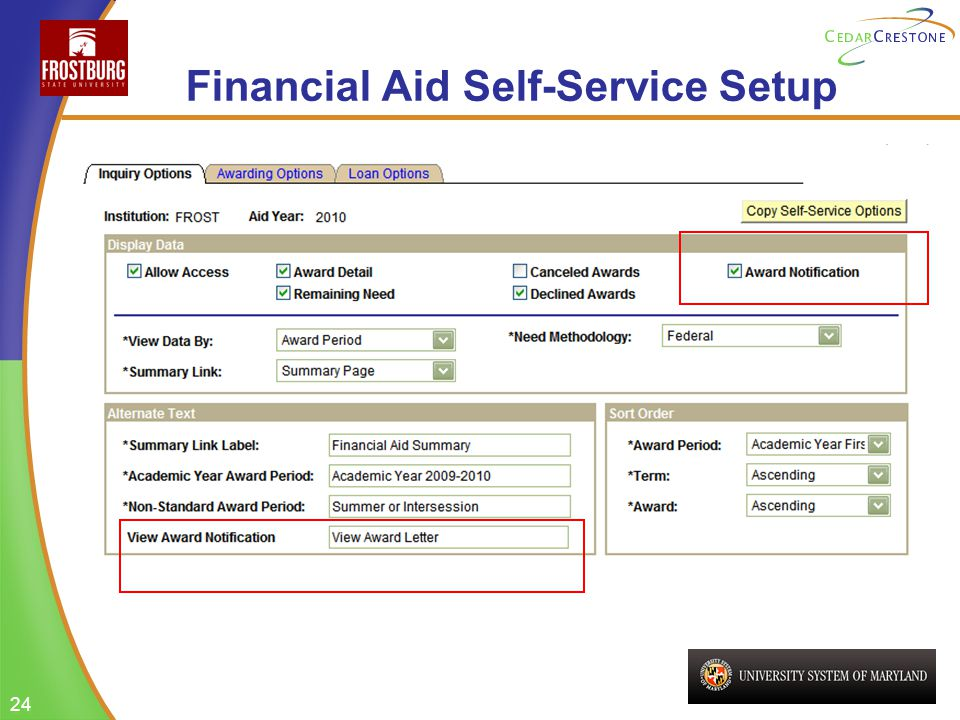 24 Financial Aid Self-Service Setup