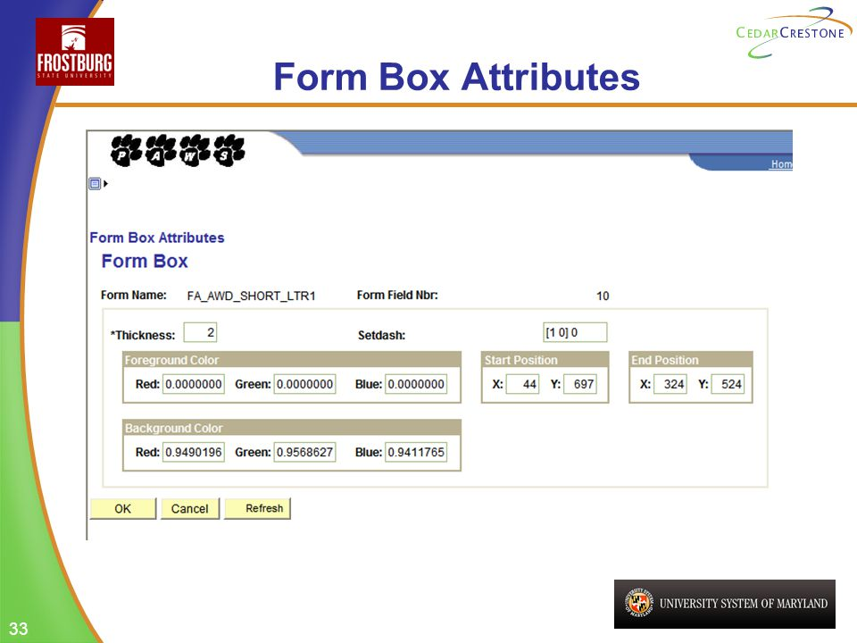 33 Form Box Attributes
