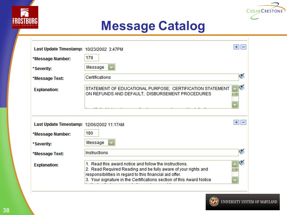 38 Message Catalog