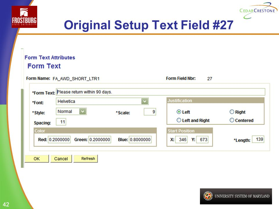 42 Original Setup Text Field #27