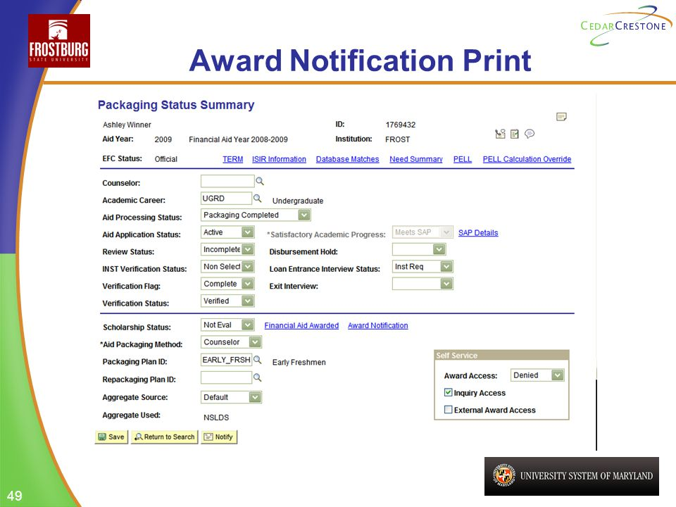 49 Award Notification Print