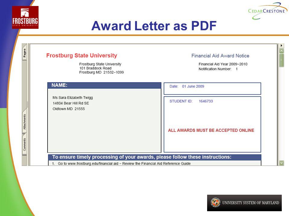 Award Letter as PDF